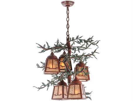 Meyda Tiffany Pine Branch Valley View Five-Light 28 Wide LED Chandelier