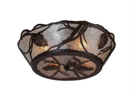 Meyda Tiffany Pinecone Four-Light Flush Mount Light