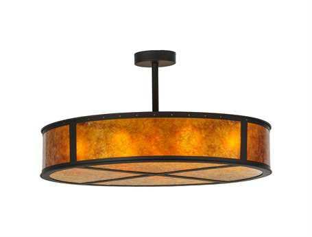 Meyda Tiffany Smythe Craftsman Amber Mica Eight-Light Semi-Flush Mount Light