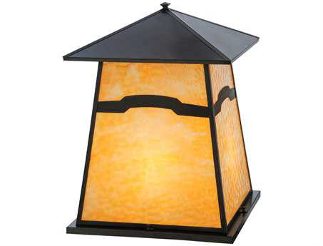 Meyda Tiffany Stillwater Mountain View Beige Glass Craftsman Four-Light Outdoor Pier Mount Light