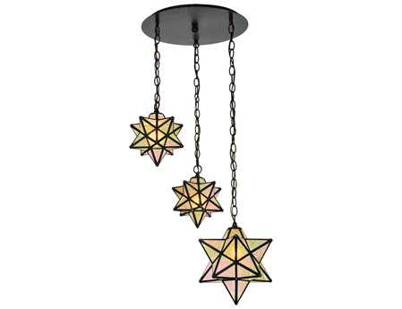 Meyda Tiffany Moravian Star Three-Light Shower Flush Mount Light