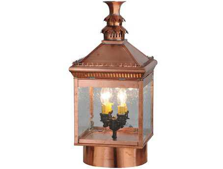 Meyda Tiffany Locke Solid Copper Four-Light Outdoor Post Mount Light