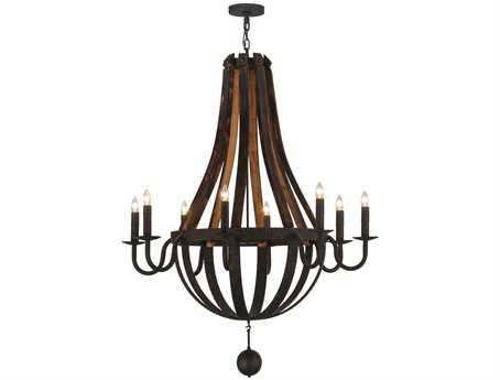 Meyda Tiffany Barrel Stave Madera Eight-Light 45 Wide Grand Chandelier