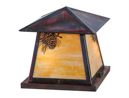 Meyda Tiffany Stillwater Winter Pine Beige Vintage Copper Two-Light Outdoor Pier Mount Light