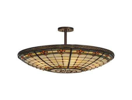 Meyda Tiffany Fleur-De-Lis Six-Light Semi-Flush Mount Light
