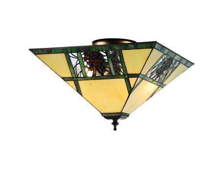 Meyda Tiffany Pinecone Ridge Two-Light Flush Mount Light