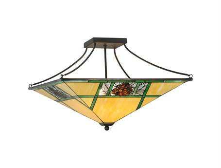 Meyda Tiffany Pinecone Ridge Four-Light Semi-Flush Mount Light