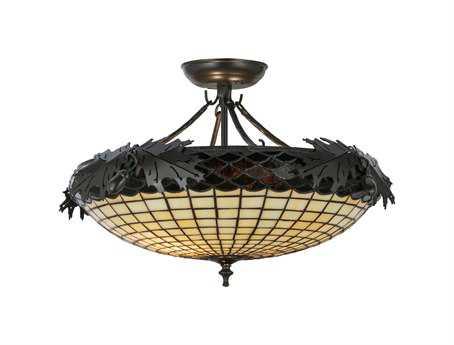 Meyda Tiffany Greenbriar Oak Two-Light Semi-Flush Mount Light