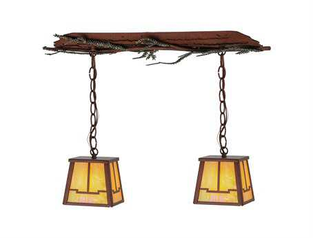 Meyda Tiffany Pine Branch Valley View Two-Light Island Light