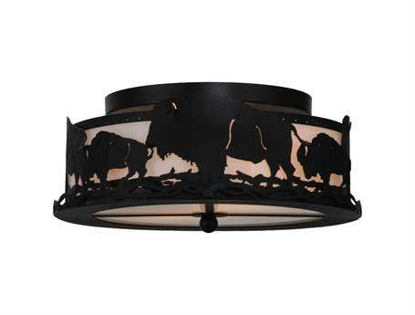 Meyda Tiffany Buffalo Two-Light Flush Mount Light