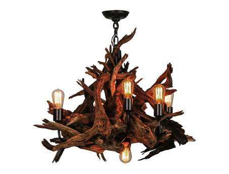 Meyda Tiffany Driftwood Six-Light 30 Wide Chandelier