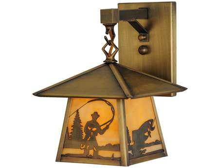 Meyda Tiffany Stillwater Fly Fishing Creek Hanging Outdoor Wall Light