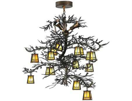Meyda Tiffany Pine Branch Valley View 12-Light 52 Wide LED Grand Chandelier