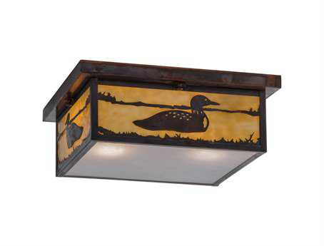 Meyda Tiffany Hyde Park Loon Two-Light Flush Mount Light