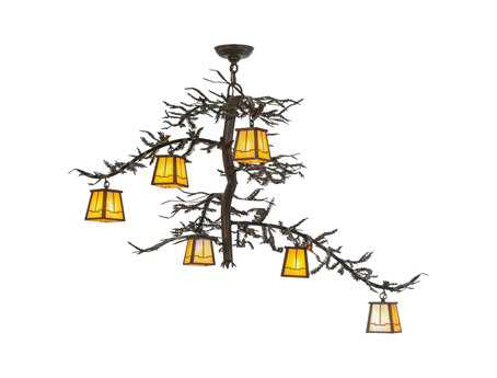 Meyda Tiffany Pine Branch Valley View Six-Light 45 Wide Chandelier