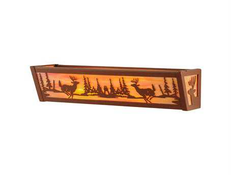 Meyda Tiffany Deer At Lake Two-Light Vanity Light