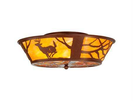 Meyda Tiffany Deer On The Loose Four-Light Flush Mount Light
