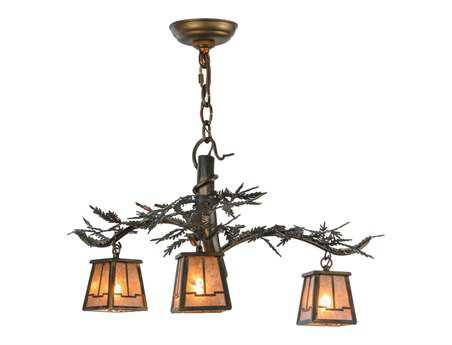 Meyda Tiffany Pine Branch Valley View Three-Light 24 Wide Mini Chandelier