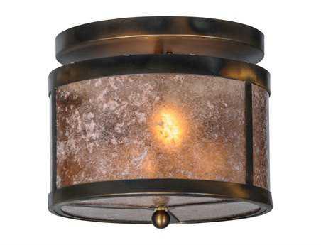 Meyda Tiffany Smythe Craftsman Silver Mica Two-Light Flush Mount Light