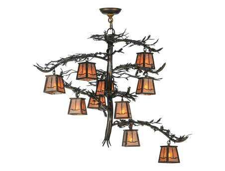 Meyda Tiffany Pine Branch Valley View Ten-Light 39 Wide Grand Chandelier