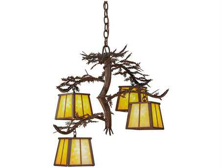 Meyda Tiffany Pine Branch Four-Light 28 Wide Chandelier