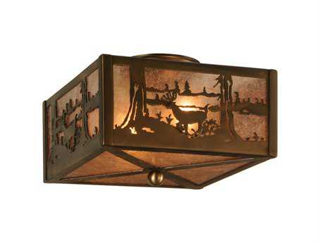 Meyda Tiffany Deer At Lake Two-Light Flush Mount Light