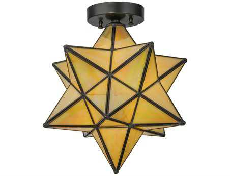Meyda Tiffany Moravian Star Beige Iridescent Flush Mount Light