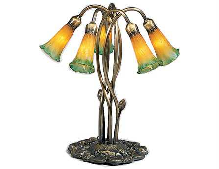 Meyda Tiffany Pond Lily Amber & Green Accent Table Lamp
