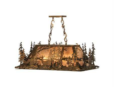 Meyda Tiffany Deer Through The Trees 100-Light Oblong Pendant