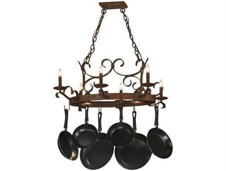 Meyda Tiffany Handforged Oval Six-Light Pot Rack