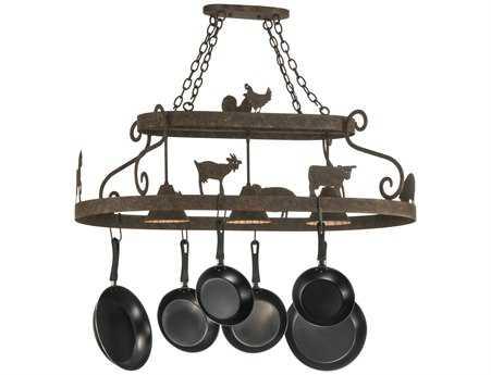 Meyda Tiffany Barn Animals Three-Light Pot Rack