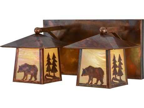 Meyda Tiffany Pine Tree & Bear Two-Light Vanity Light