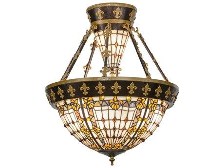 Meyda Tiffany Fleur-De-Lis Six-Light Semi-Flush Mount Light