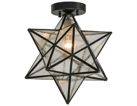 Meyda Tiffany Moravian Star Clear Seedy Flush Mount Light