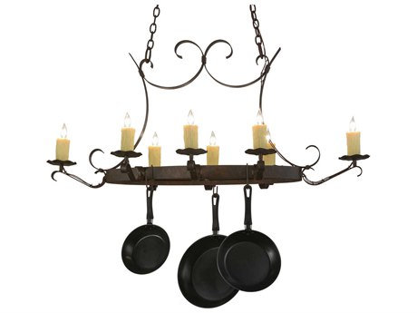 Meyda Tiffany Handforged Oval Eight-Light Pot Rack