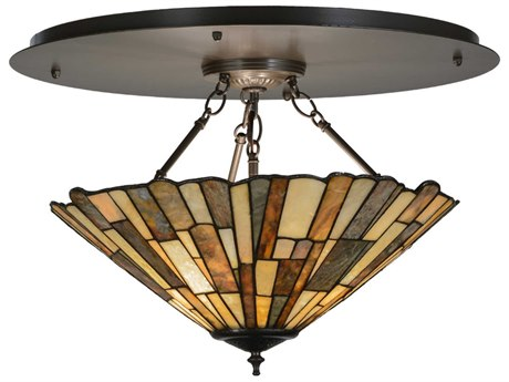 Meyda Tiffany Delta Jadestone Three-Light Flush Mount Light