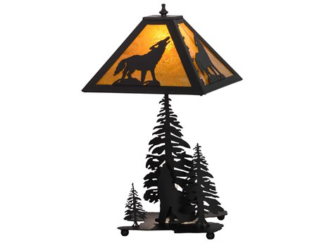 Meyda Tiffany Howling Wolf with Lighted Base Multi-Color Table Lamp