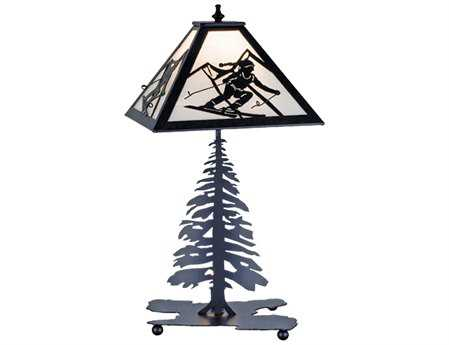 Meyda Tiffany Skier Multi-Color Table Lamp