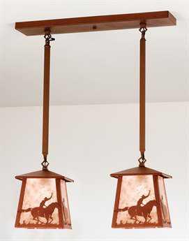 Meyda Tiffany Cowboy & Steer Two-Light Island Light
