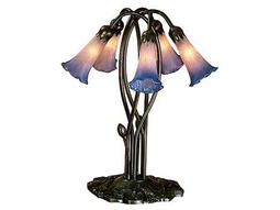 Meyda Tiffany Pond Lily Pink & Blue Accent Table Lamp