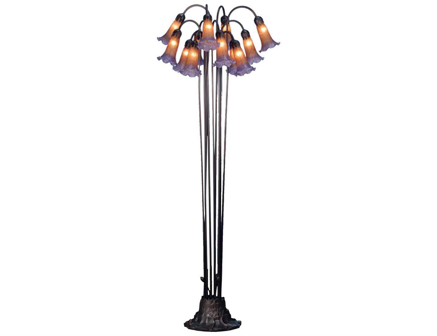 Meyda Tiffany Pond Lily Amber Amp Purple Floor Lamp My15946