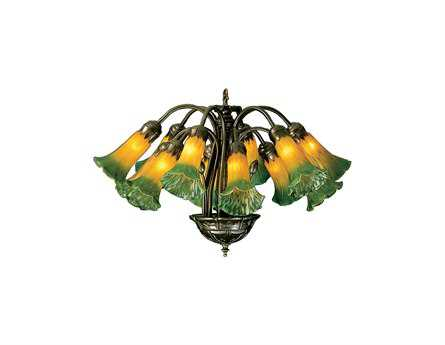 Meyda Tiffany Amber & Green Pond Lily 12-Light 20 Wide Mini Chandelier