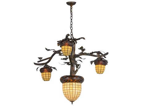 Meyda Tiffany Acorn Branch Antique Copper Burnished Four-Light 48'' Wide Chandelier