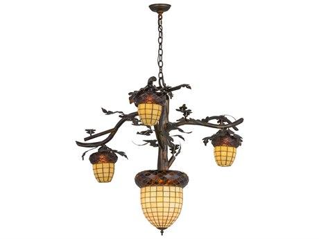 Meyda Tiffany Acorn Branch Antique Copper Burnished Four-Light 48'' Wide Chandelier