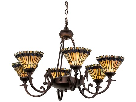 Meyda Tiffany Jeweled Peacock Six-Light 32 Wide Chandelier