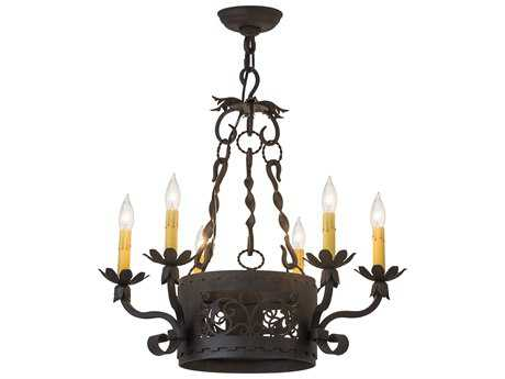 Meyda Lighting Dragone Chestnut Six-Light 24'' Wide Chandelier