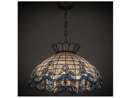 Meyda Lighting Roseborder Zaz Blue 20'' Wide Pendant Light