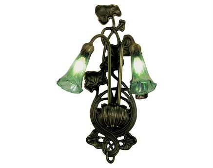 Meyda Tiffany Green Pond Lily Two-Light Wall Sconce