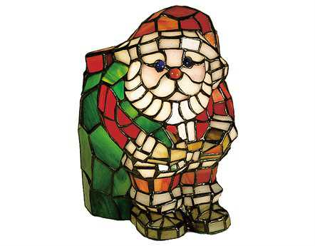 Meyda Tiffany Santa Claus Tiffany Glass Accent Table Lamp