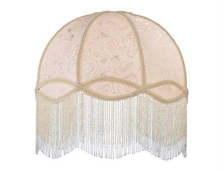 Meyda Tiffany Fabric & Fringe Ivory Dome Shade